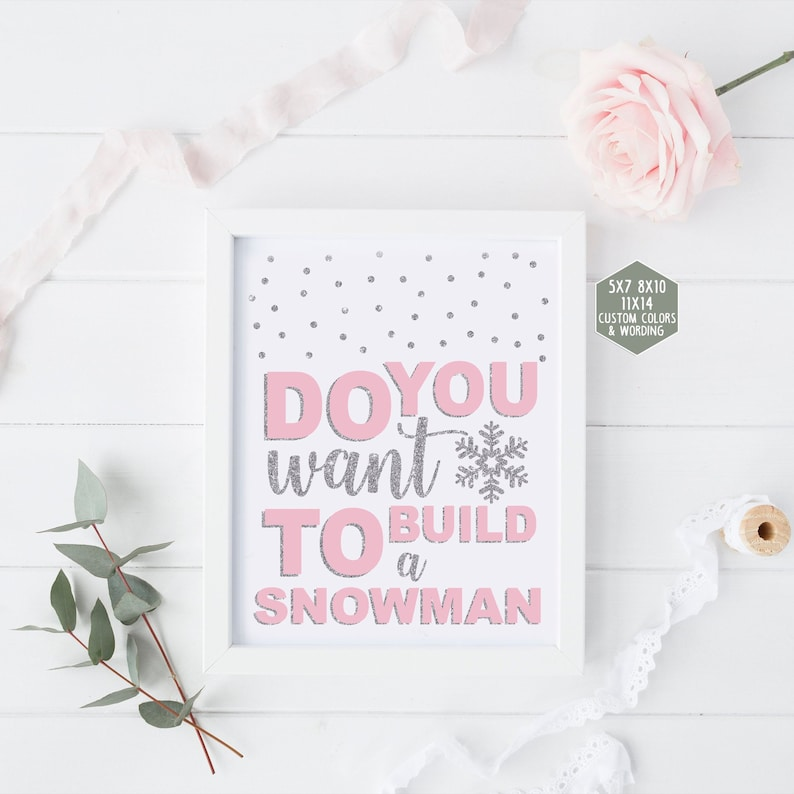 graphic about Do You Want to Build a Snowman Printable titled Do oneself need to have toward create a snowman indication printable, winter season onederland decorations, purple and silver initially birthday social gathering, child shower female 005