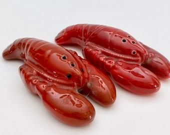Lobster Salt /& Pepper Set 1940-60s Japan Vintage bright Red collectible mid century kitchenalia GC