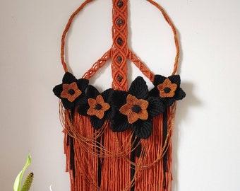 Orange and black flower Halloween autumn peace sign / floral peace sign / Samhain wreath / smokey quartz crystals / boho dream catcher