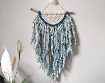Blue paisley ribbon wall hanging / recycled sari silk artwork / beach house decor / boho wall hanging / boho beach house / blue fiber art
