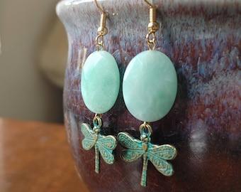 Amazonite dragonfly earrings