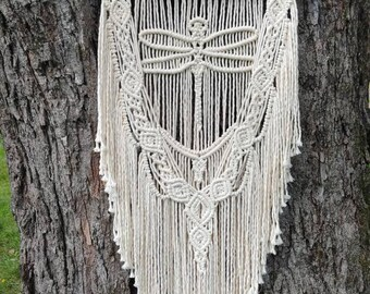 Large dragonfly wall hanging / neutral macrame /