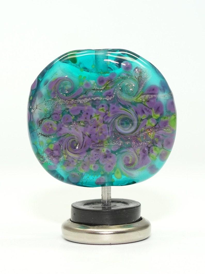 summer tabular green lime purple teal pond murrini tabular shaped Handmade Artisan Glass Bead Lampwork Focal garden