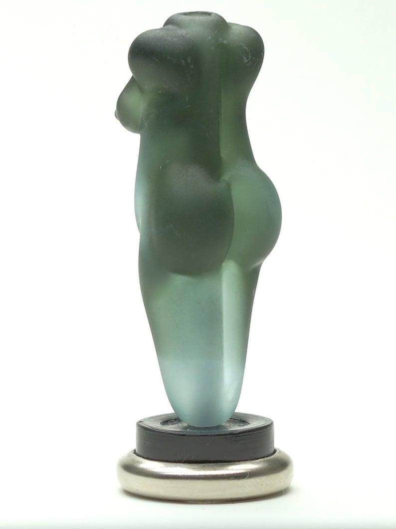 Handmade Artisan Glass Bead Lampwork Focal goddess etched teal dichro grey dichroic glass