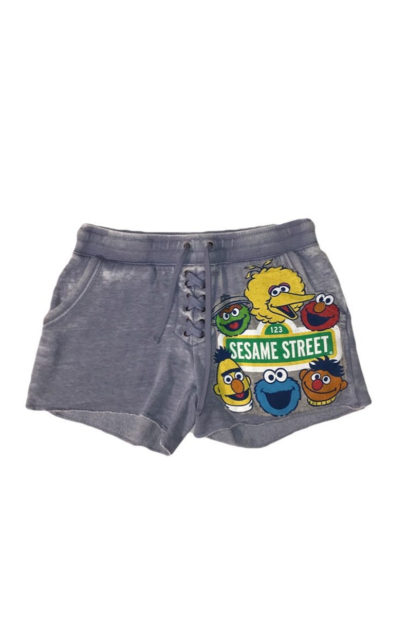 Lace-Up Sweatshorts With Upcycled Sesame Street T-Shirt Patch
