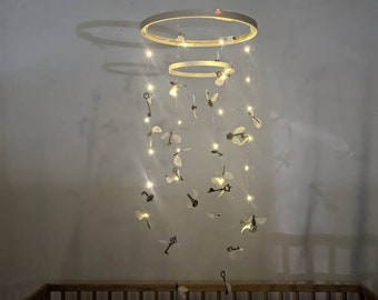 Night Light Flying Key Mobile for the Wizard Themed Nursery - Lit Magic Theme Baby Mobile - Keys with Wings - Movie Themed Room Decor