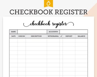 checkbook transaction registers with 2018 19 20 calendars etsy