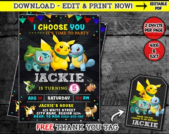 Pokemon Invitation Birthday Invite Party Instant Download PDF