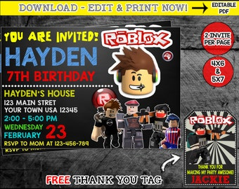 Roblox Invitation Birthday Party Invite Thank You PDF Instant Download