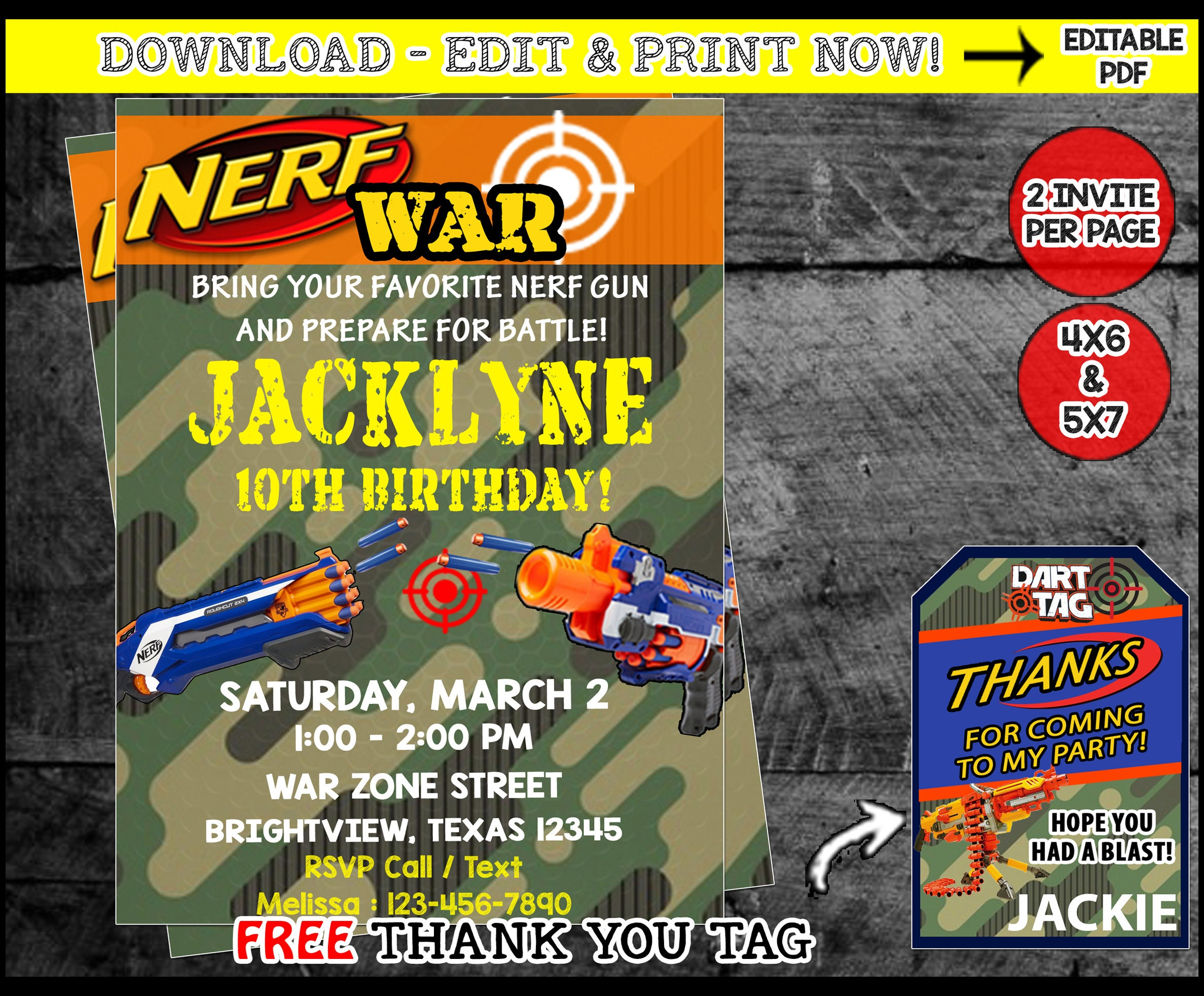 Nerf Invitation Wars Invite Birthday Party Instant DownloadFree Thank You