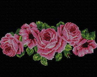 Cross stitch machine embroidery designs Flowers border | Etsy