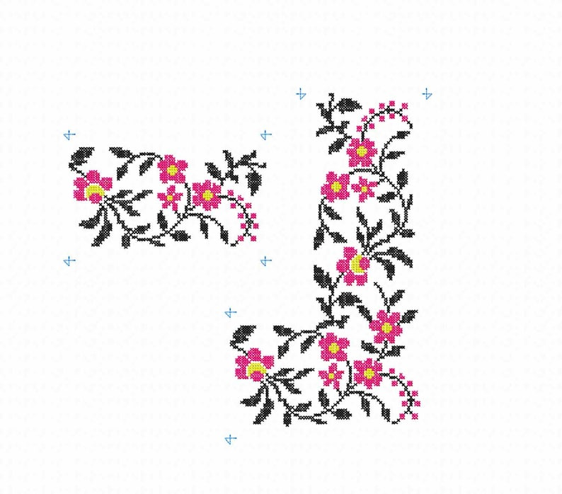Flowers machine embroidery design Cross stitch border pattern