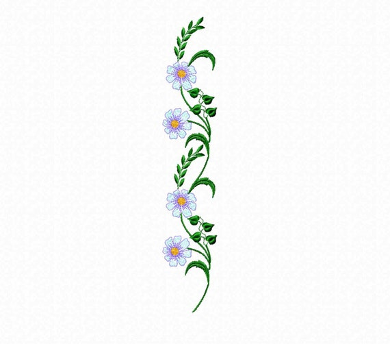 Flowers Machine Embroidery Design Border Digital Pattern Etsy