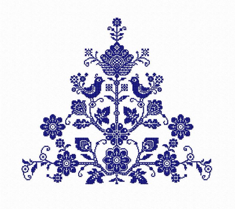 Folk machine Embroidery designs Hoop 13x18 Cross stitch digital pattern 14x20