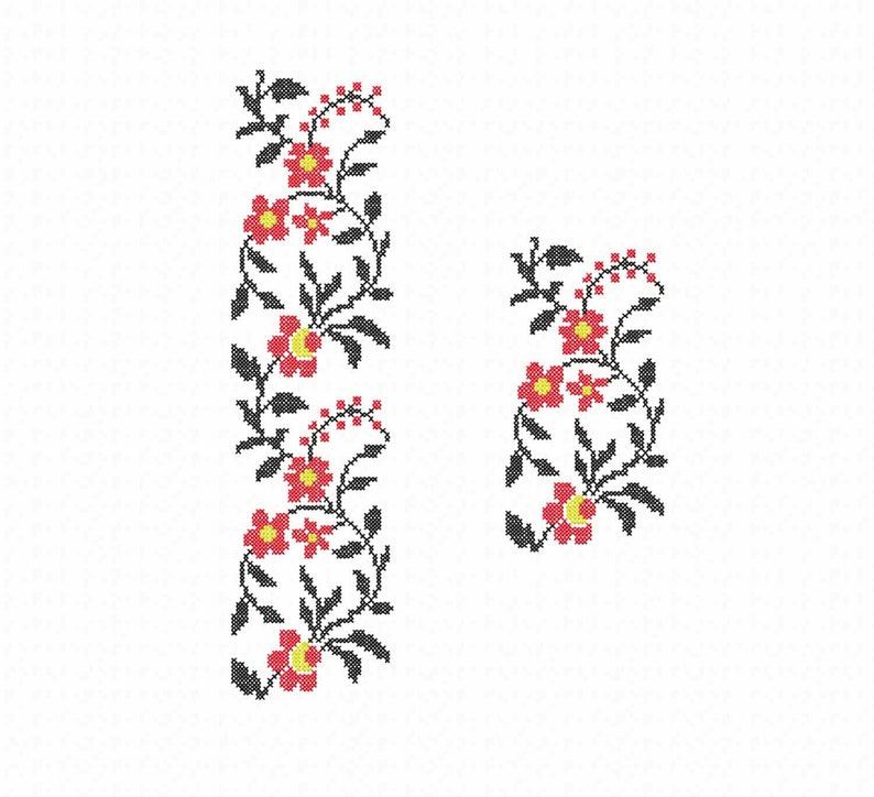Border Machine embroidery design Cross stitch flowers pattern  Set instant  download patterns