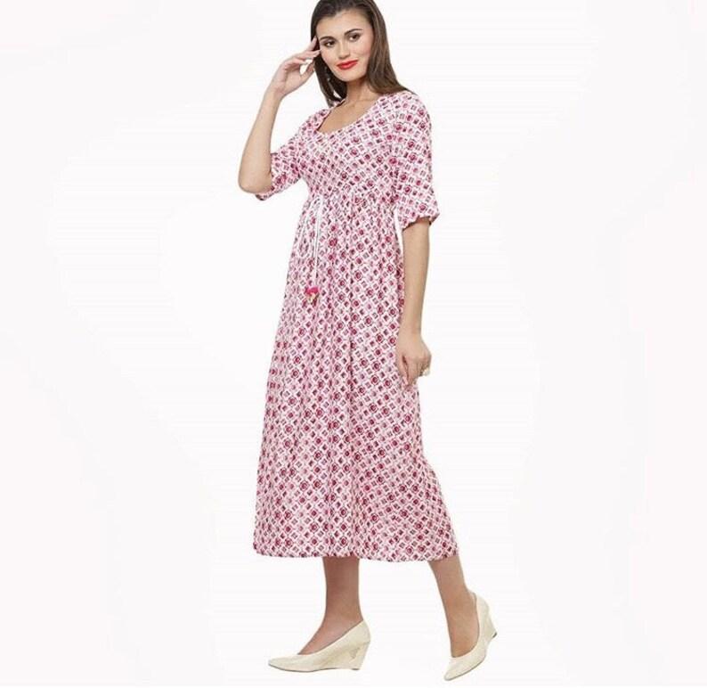 Mahru Diamond Printed Pleated Cotton Midi Dress with Pom Pom Detailing