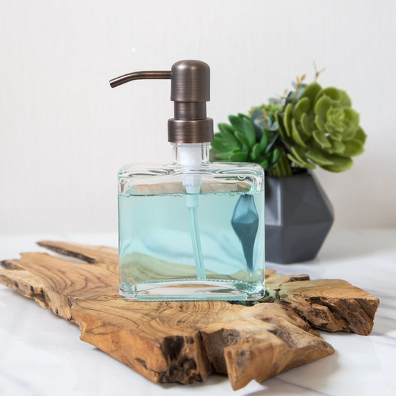 Glass Soap Dispenser | Square Bottle Soap Dispenser | Bathroom Soap  Dispenser | Kitchen Sink Soap Dispenser | Bronze Metal Pump