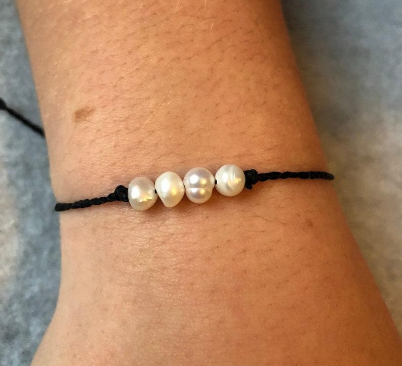 Fresh Water Pearl Waxed String Beach Bracelet