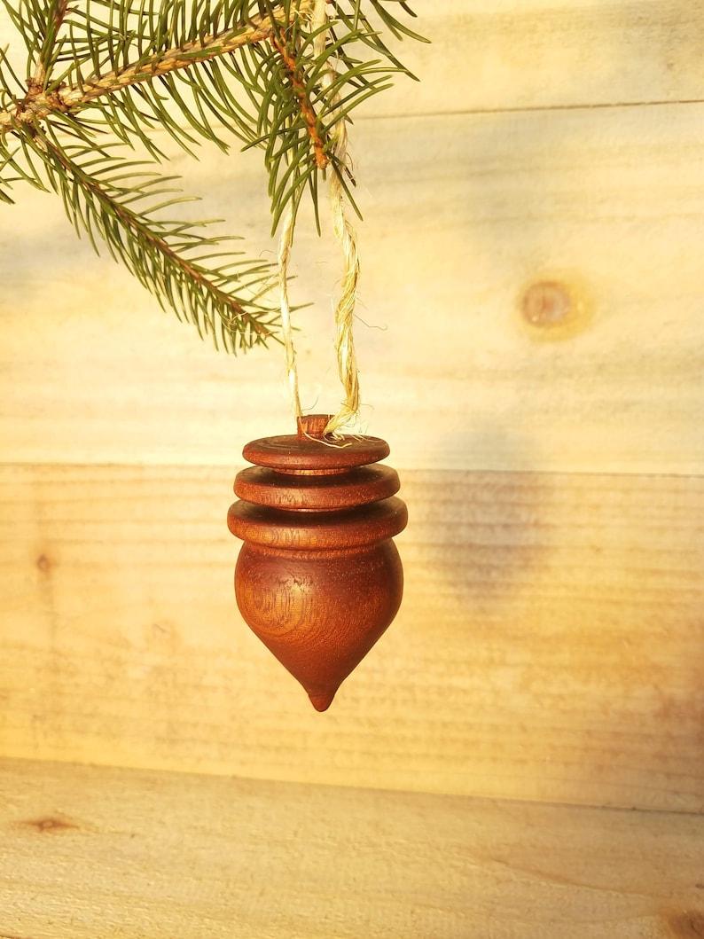 Wooden Acorn Christmas Ornament Walnut