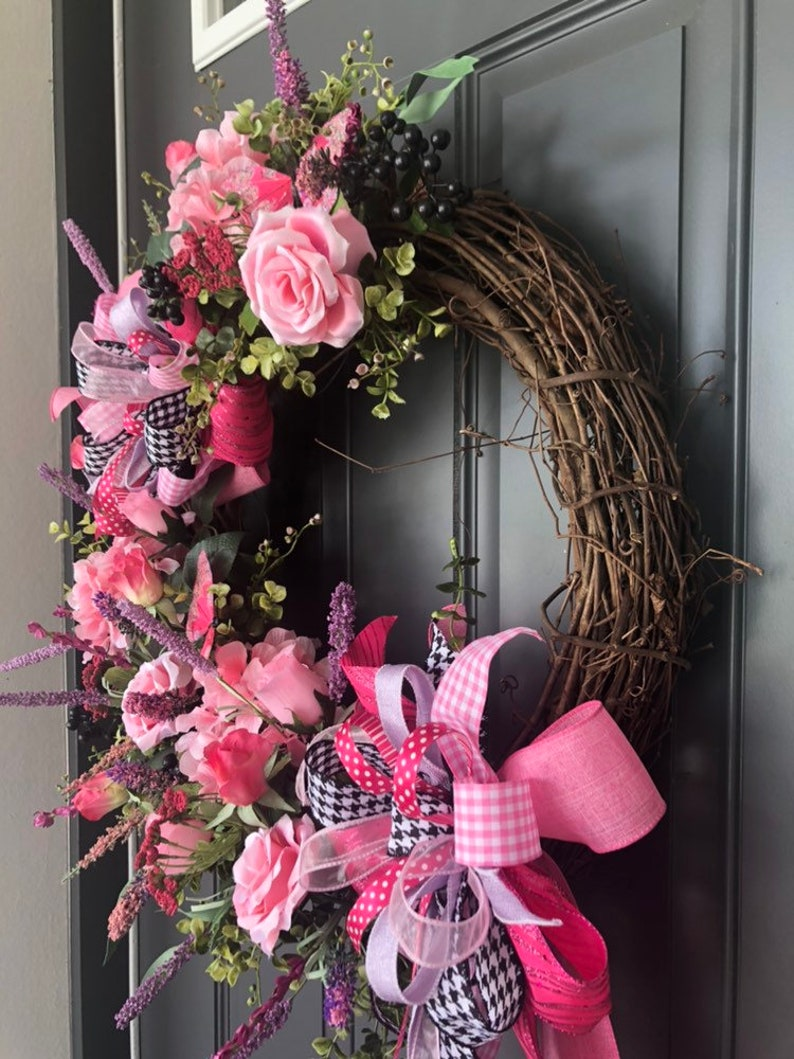 Pink Rose and Hydrangea with Butterflies wreathSpring and Summer wreathEveryday wreath