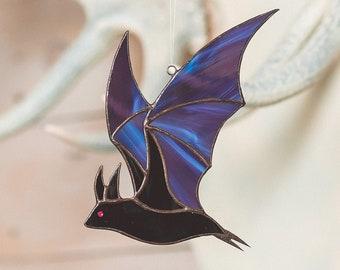 Halloween stained glass bat Halloween suncatcher window hanging Bat suncatcher 2021