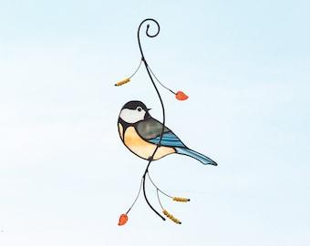 Chickadee bird window hanging stained glass suncatcher Christmas gift for mom