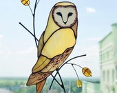 Owl bird Stained glass suncatcher stained glass window hanging decor stained glass bird home decor