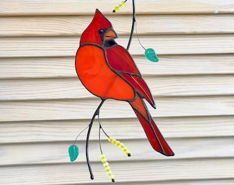 1117ca03ef7 Red cardinal bird stained glass suncather bird lover gift stained glass  window hangings