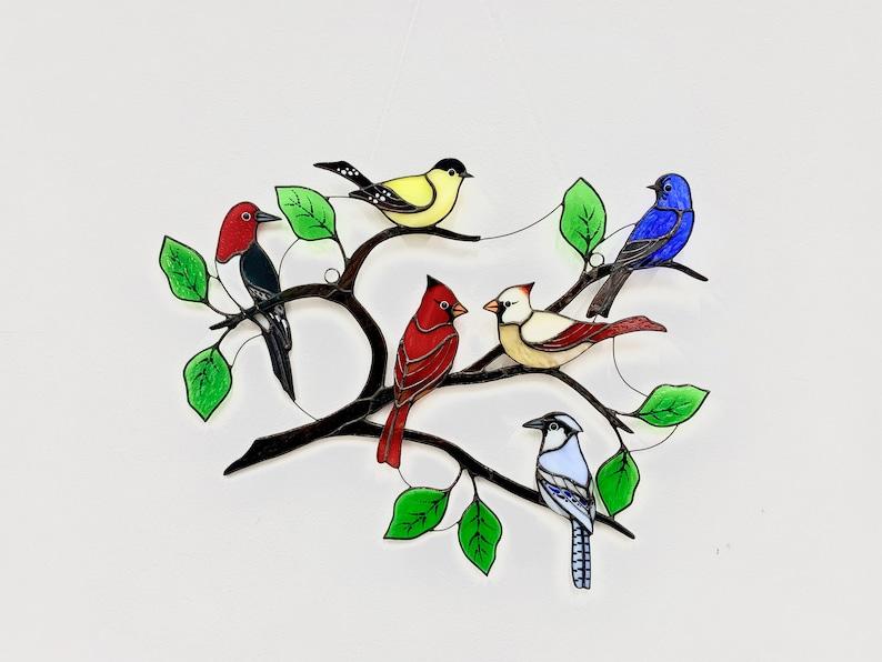 Suncatcher stained glass birds modern home decor image 2