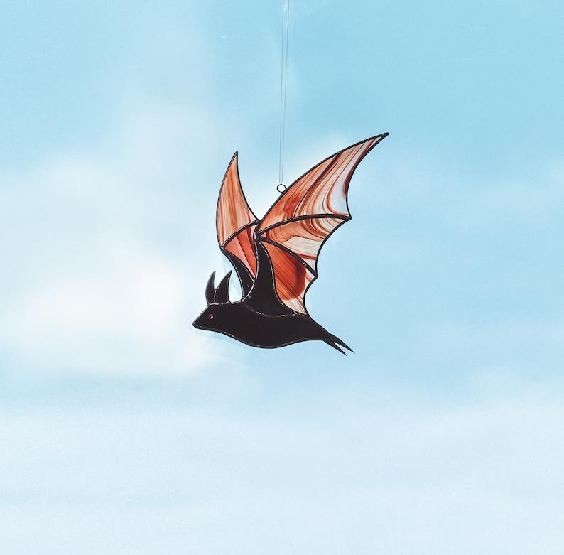 Gearhuman – Stained Glass Halloween Bat Suncatcher Halloween Decoration