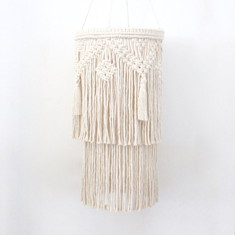san francisco 642c8 35ca8 Macrame Layered Chandelier | Macrame Pendant Light | Hanging Macrame Lamp |  Boho Nursery Mobile - TASSEL Chandelier