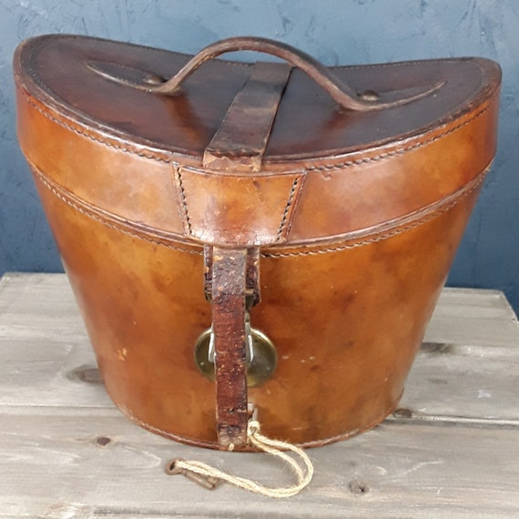 Antique / Vintage Leather Hat Box with Bowler Hat
