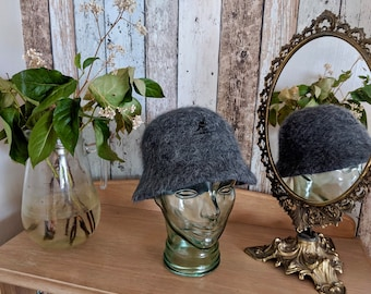 ae0387e2 Fluffy charcoal grey pure angora bucket hat, Kangol bucket style winter hat,  grey winter or autumn hat, 1990s retro hat