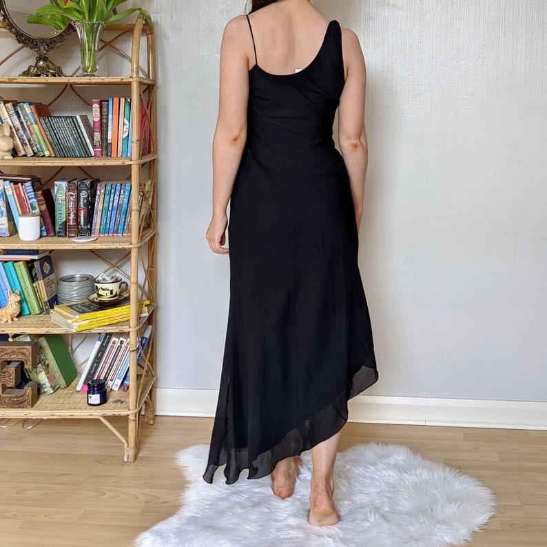 1990s black midi dress pink and black floral dress vintage black cowl neck midi dress size UK8 vintage floral dress vintage midi dress