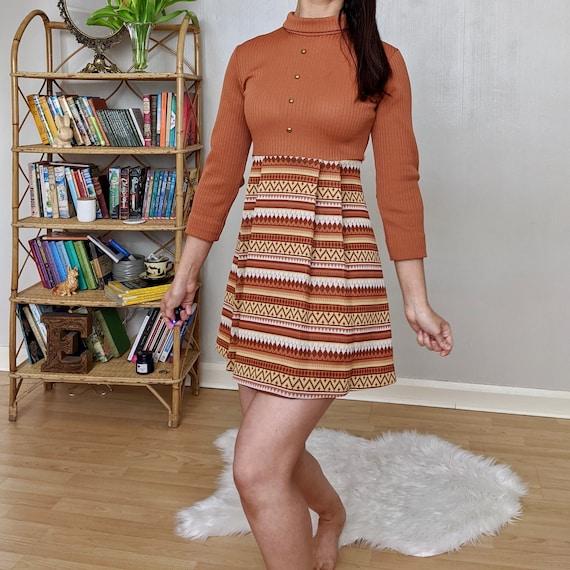 Burnt orange mini dress, 1960s mini dress, Aztec d