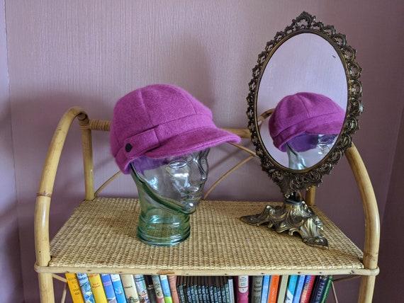 angora blend peak cap, purple baker boy hat, soft