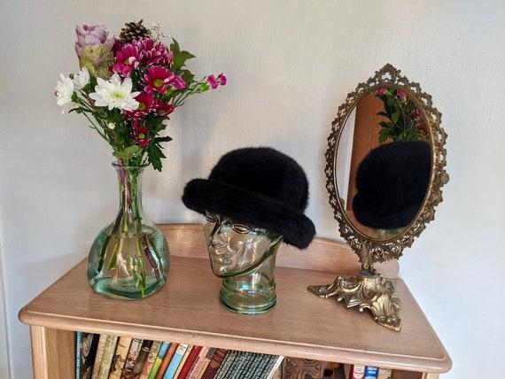 vintage angora blend winter hat, black winter hat,