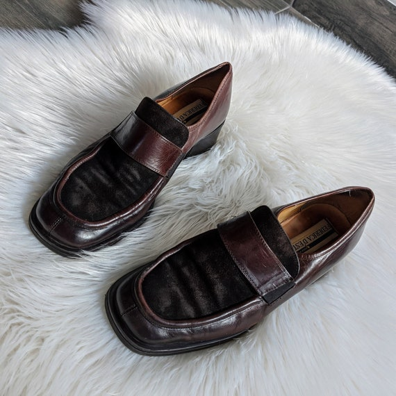stunning brown leather chunky shoes, size UK 7/EU