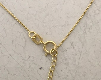 Solid 14K Yellow Gold Adjustable Cable Chain 13 To 15 Inch Thin Gold Chain Simple Gold Chain Cable Gold Chains For Children 0.7mm Wide