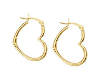 18K Yellow Gold Blue Enamel Heart Hoop Earrings 15mm