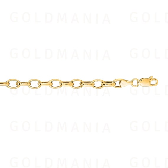 """14k Yellow or White Gold Lightweight 3.2mm Oval Rolo Bracelet 7/"""""""