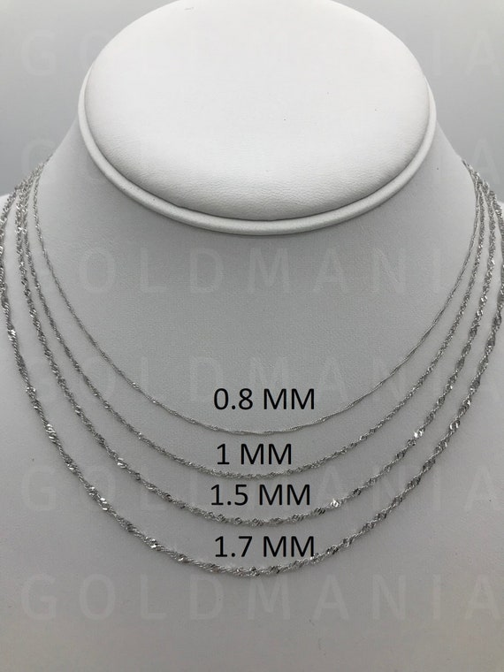 Solid 14k White Gold Singapore Chain Necklace 16 To Etsy