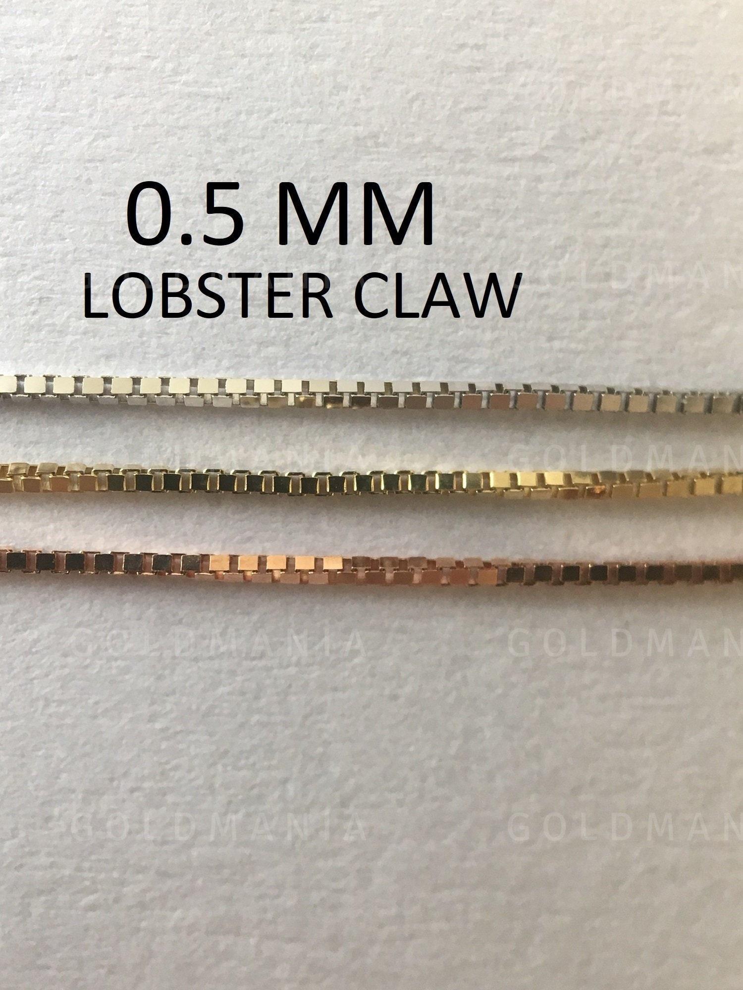 14k Yellow Gold 0.5-mm Thin /& Dainty Box Chain