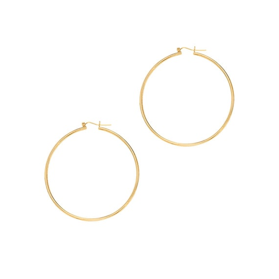 """4mm X 25mm 1/"""" All Shiny Round Hoop Earrings Real 14K Yellow Gold FREE SHIPPING"""
