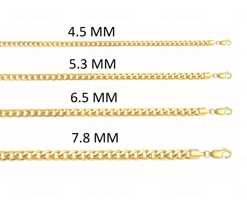 7421dc1c33f14 14K Yellow Gold Miami Cuban Link Chain, 8.5