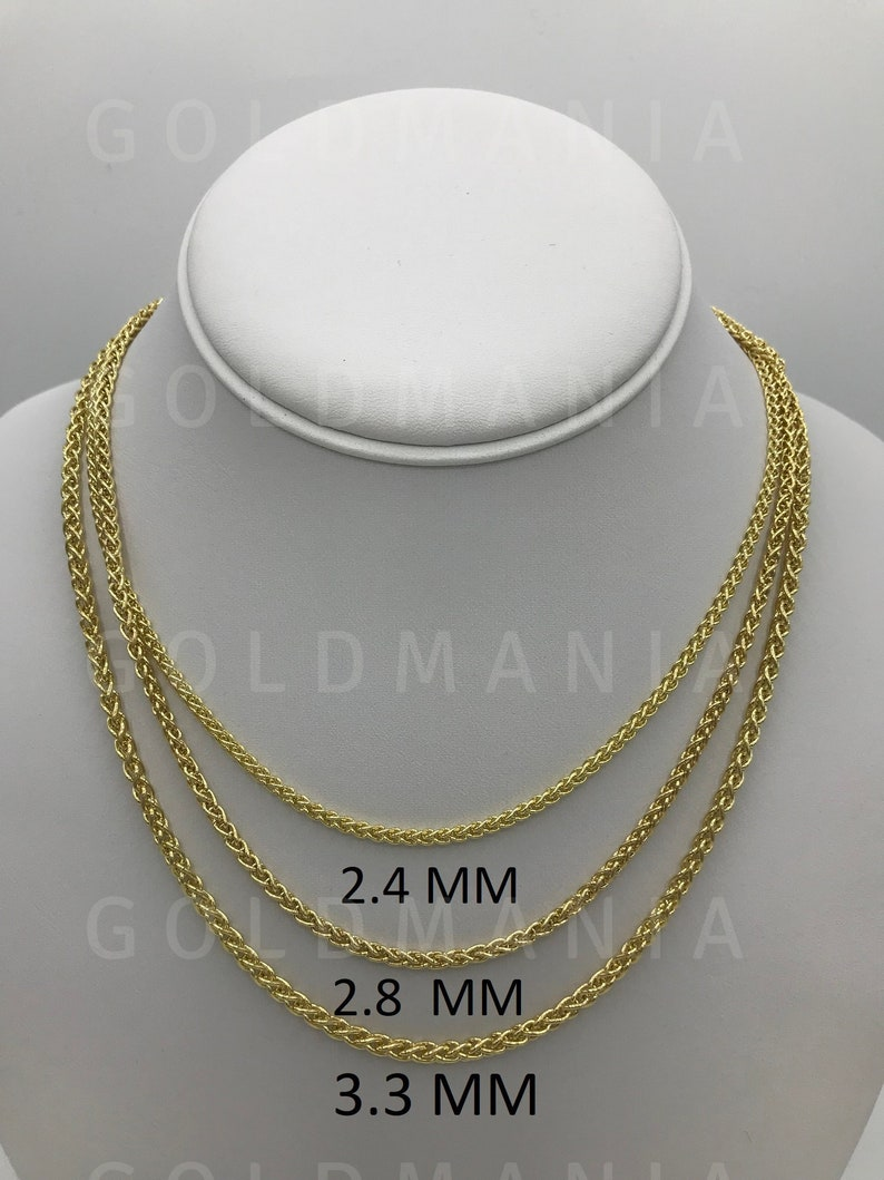 5b1891705ab24 14K Yellow Gold Hollow Wheat Chain Necklace, 16