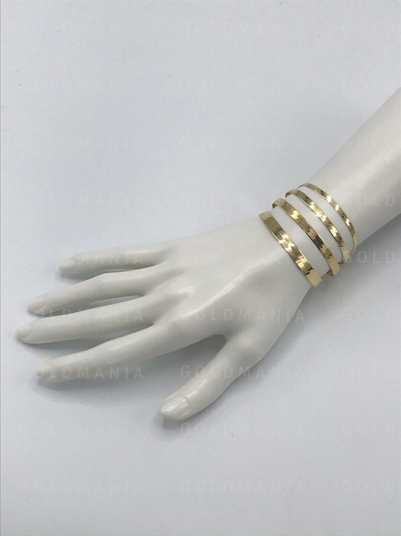 Women Delicate Bracelet Flat Gold Bracelet 7 8 Inch Real Gold Bracelet 14K Solid Yellow Gold Herringbone Bracelet 3mm 4mm  5mm 6mm