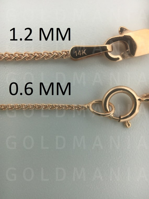 16 INCHES LONG 14KT GOLD HOLLOW SQUARE WHEAT CHAIN WITH LOBSTER LOCK SQUARE WHEAT CHAIN