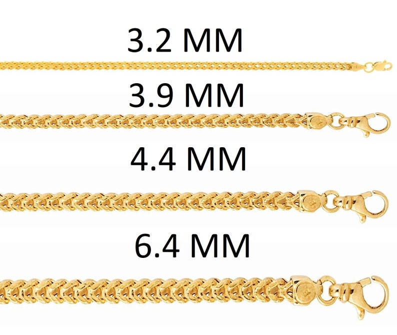 3400f311d35e8 Solid 14K Yellow Gold Square Franco Chain Necklace, 3.2MM 3.9MM 4.4MM  6.4MM, 18