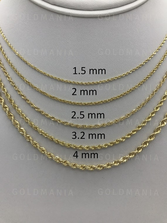 10K Yellow Gold Womens 2.5mm Italian Diamond Cut Rope Chain Pendant Necklace 24/""